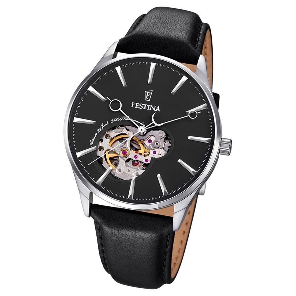 FESTINA Herren-Armbanduhr Automatik F6846/4 Leder schwarz UF6846/4
