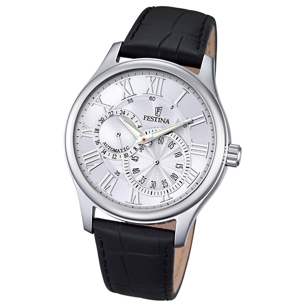 FESTINA Herren-Armbanduhr Automatik F6848/1 Leder schwarz UF6848/1
