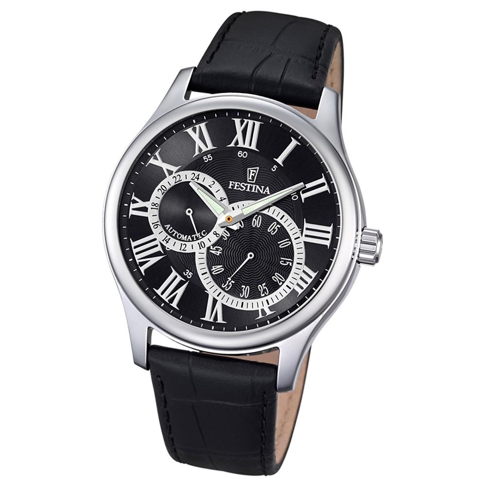 FESTINA Herren-Armbanduhr Automatik F6848/3 Leder schwarz UF6848/3