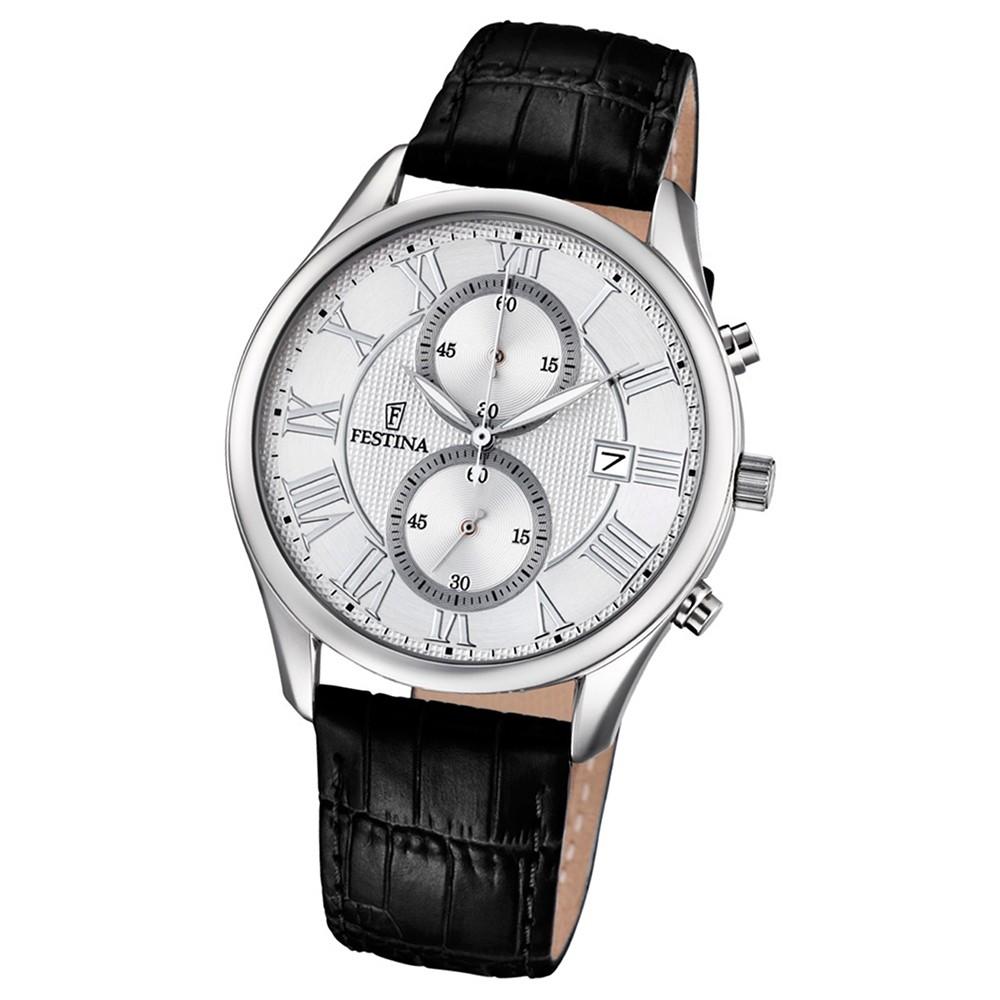 FESTINA Herren-Armbanduhr Retrograde F6855/1 Quarz Leder schwarz UF6855/1