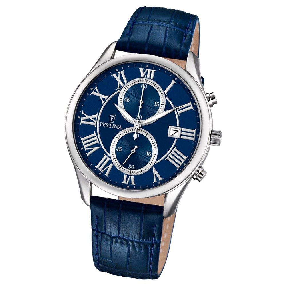 FESTINA Herren-Armbanduhr Retrograde F6855/2 Quarz Leder blau UF6855/2
