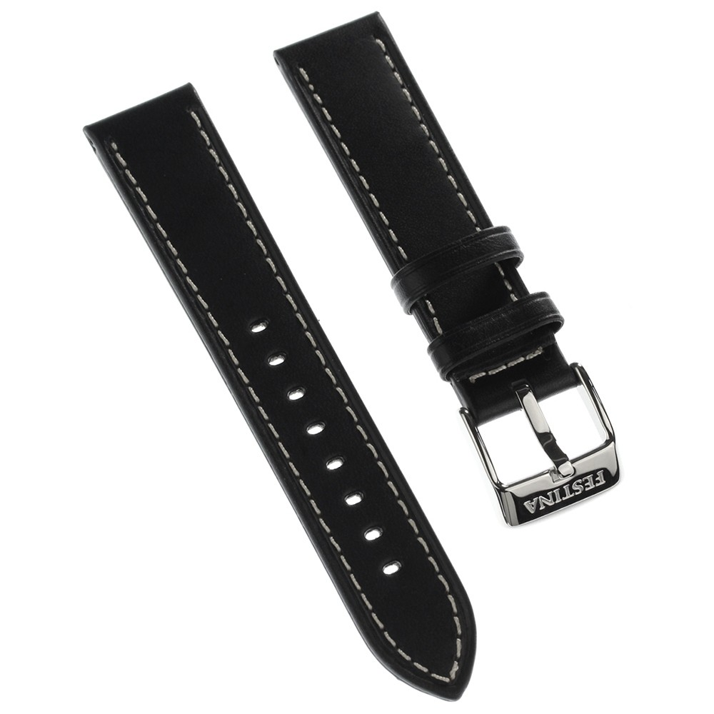 Festina Herren Uhrenarmband 21mm Leder-Band schwarz für Festina F16243 F16242 UFA16243/S