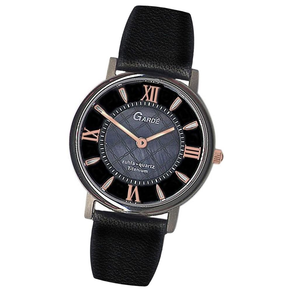GARDE Damen-Armbanduhr Quarzuhr Elegance 7973-6 Lederarmband Uhr UGA79736