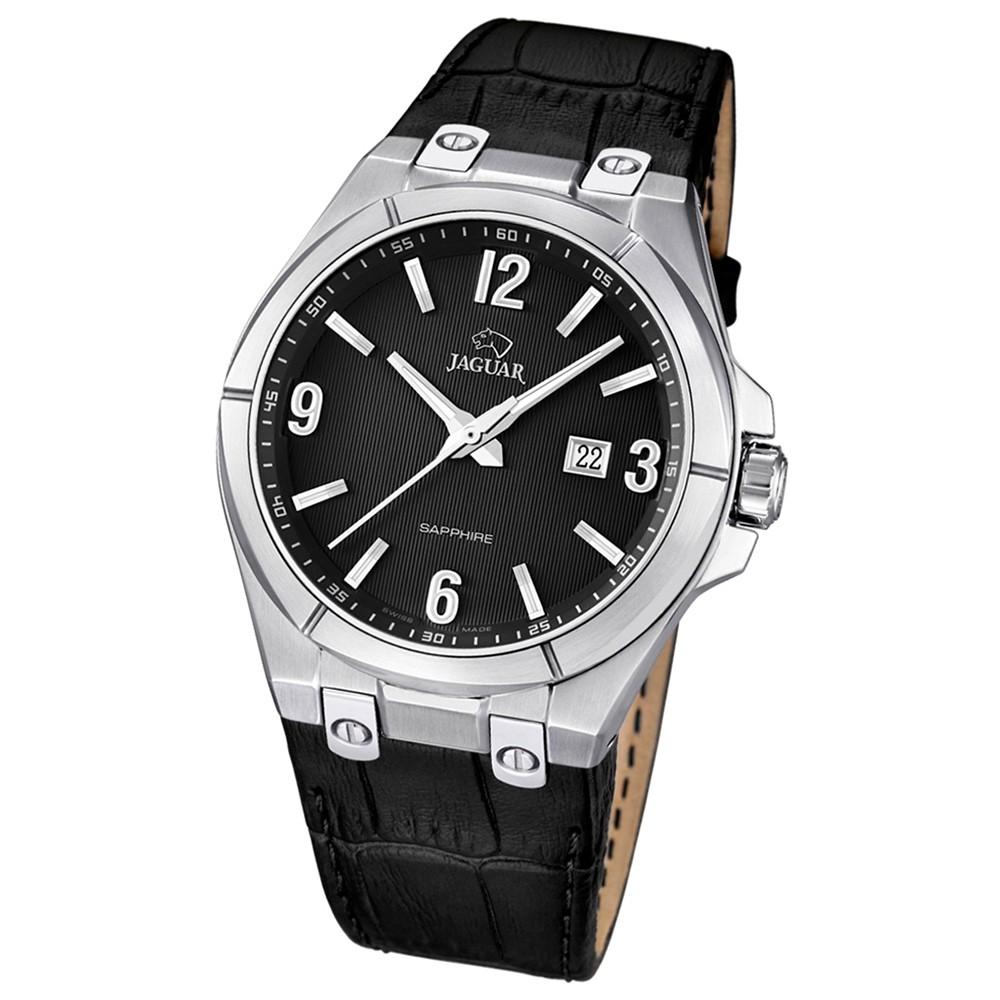JAGUAR Herren-Armbanduhr Daily Classic Saphirglas Quarz Leder schwarz UJ666/4