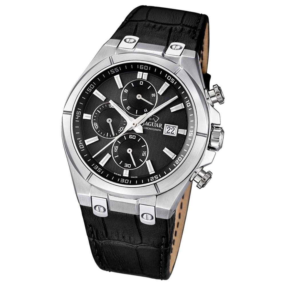 JAGUAR Herren-Armbanduhr Daily Classic Saphirglas Quarz Leder schwarz UJ667/4