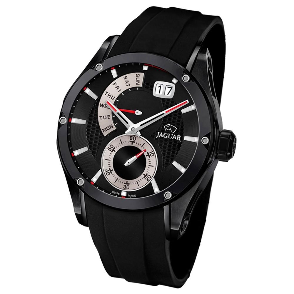 JAGUAR Herren-Armbanduhr Special Edition Saphirglas Quarz PU schwarz UJ681/2