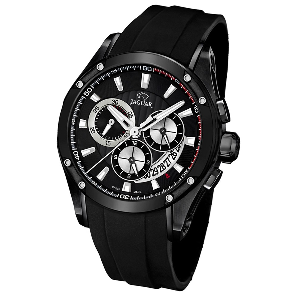 JAGUAR Herren-Armbanduhr Special Edition Saphirglas Quarz PU schwarz UJ690/1