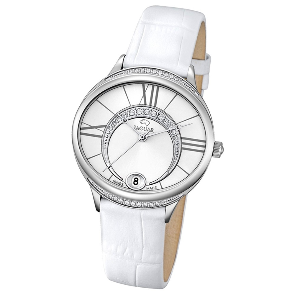 JAGUAR Damen-Armbanduhr Clair de Lune Saphirglas Quarz Leder weiß UJ801/1