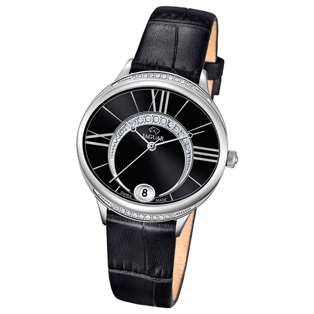 JAGUAR Damen-Armbanduhr Clair de Lune Saphirglas Quarz Leder schwarz UJ801/3