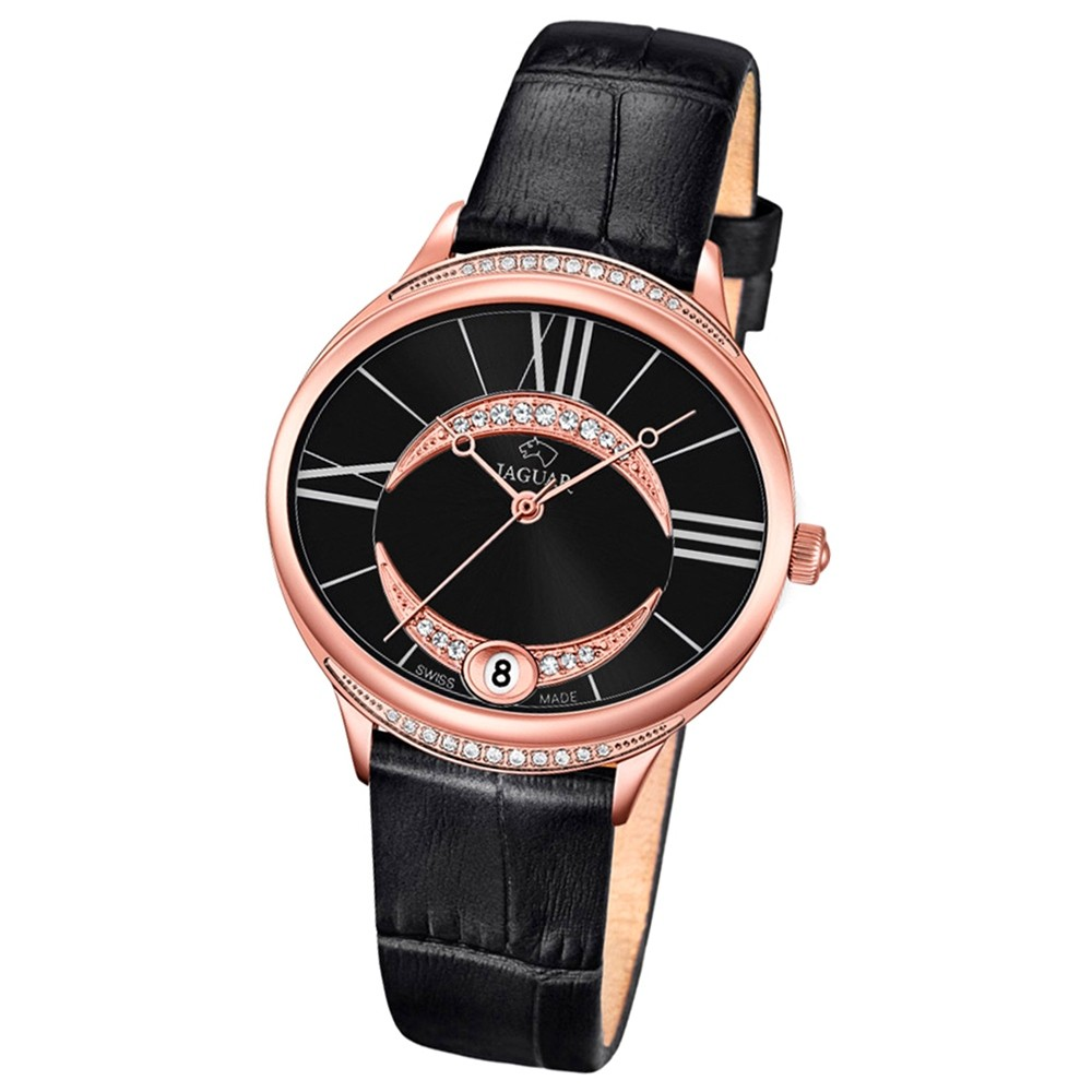 JAGUAR Damen-Armbanduhr Clair de Lune Saphirglas Quarz Leder schwarz UJ804/3