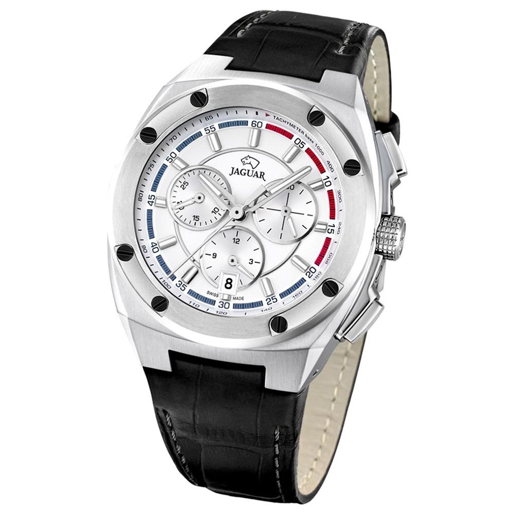 Jaguar Herren-Armbanduhr Executive Saphirglas Quarz Leder schwarz UJ806/1