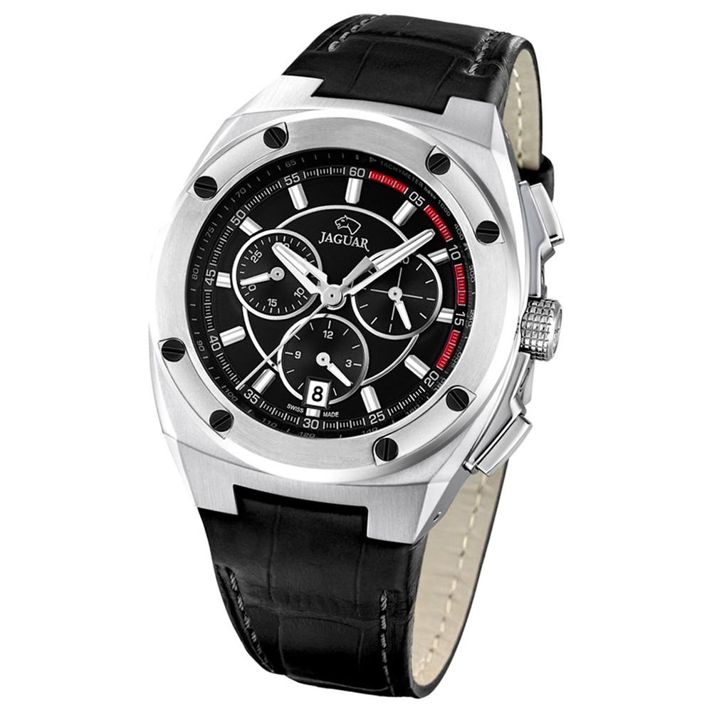 JAGUAR Herren-Armbanduhr Executive Saphirglas Quarz Leder schwarz UJ806/4