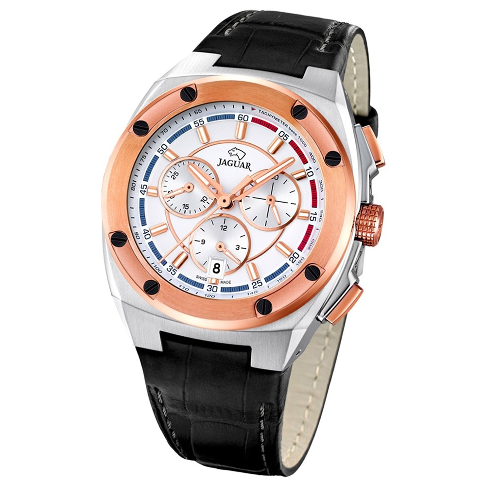 Jaguar Herren-Armbanduhr Executive Saphirglas Quarz Leder schwarz UJ809/1