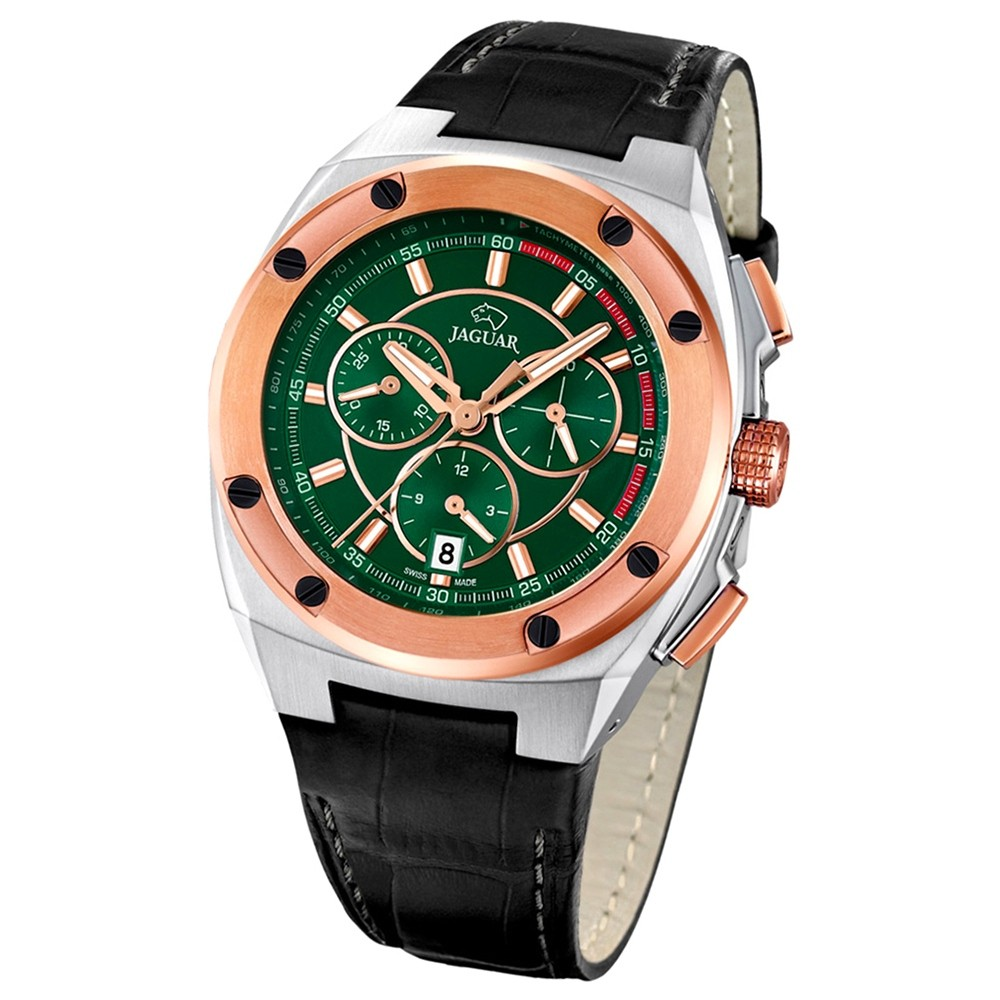 Jaguar Herren-Armbanduhr Executive Saphirglas Quarz Leder schwarz UJ809/2