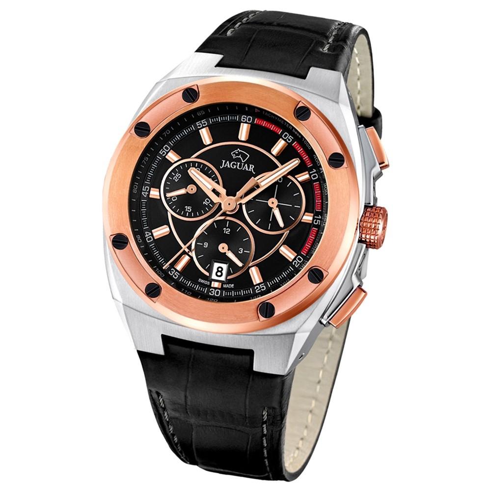 Jaguar Herren-Armbanduhr Executive Saphirglas Quarz Leder schwarz UJ809/4