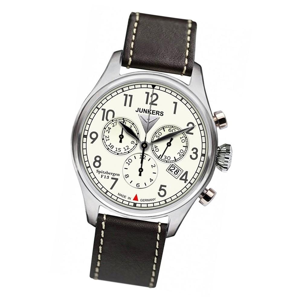 JUNKERS Herren-Uhr Quarzuhr Chrono Spitzbergen 6186-5 Leder-Armbanduhr UJU6186/5