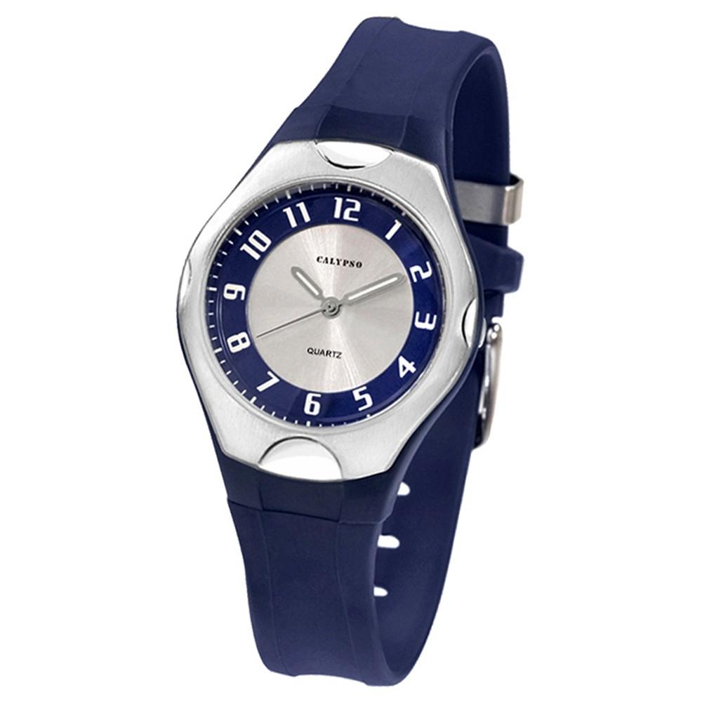CALYPSO Damen-Armbanduhr Elegant analog Quarz-Uhr PU dunkelblau UK5162/4
