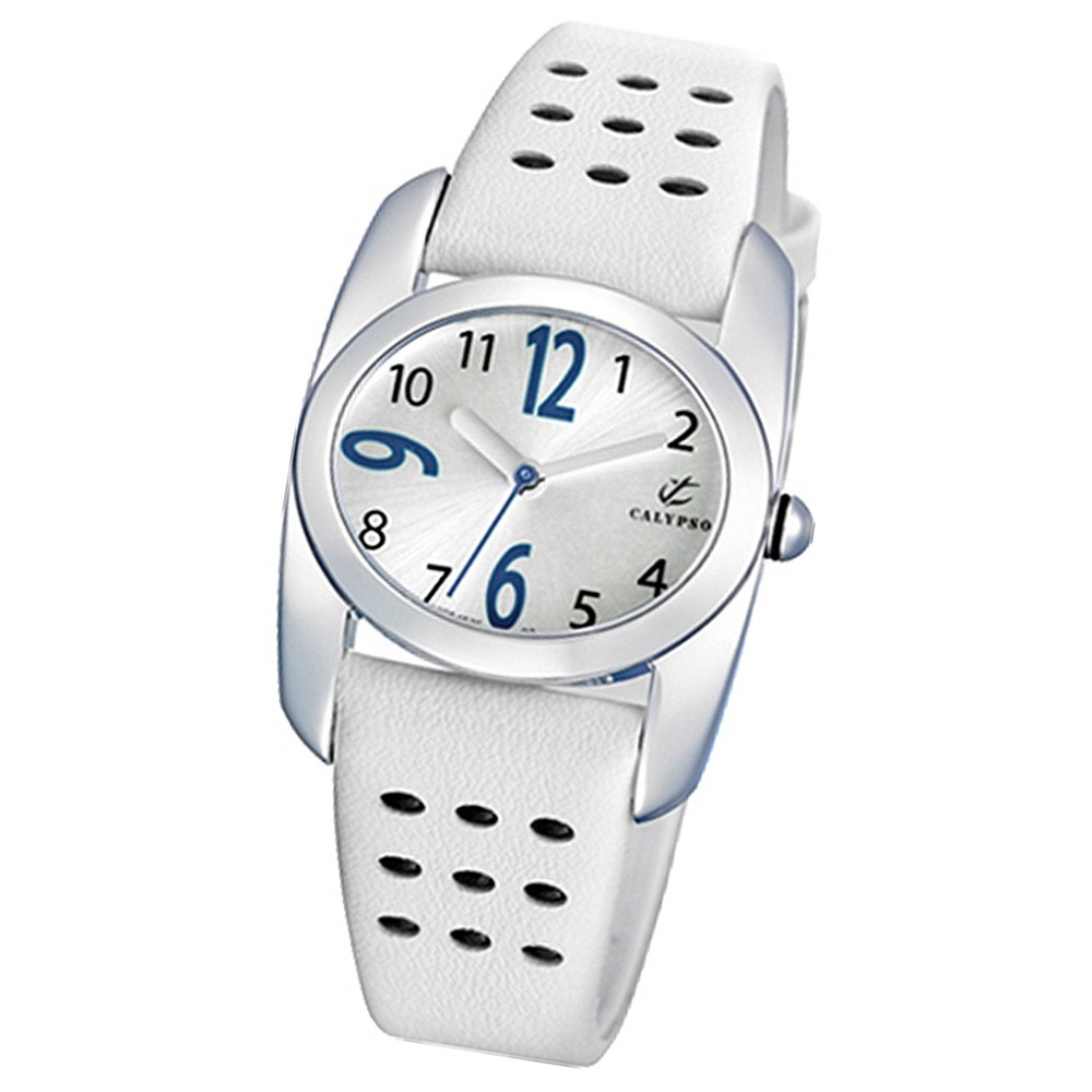 CALYPSO Damen-Armbanduhr Fashion analog Quarz-Uhr Leder weiß UK5195/1