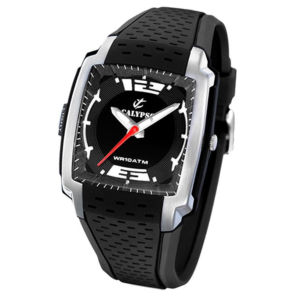 Calypso Herrenuhr schwarz, silbernes Gehäuse Analog Calypso Uhren UK5537/1