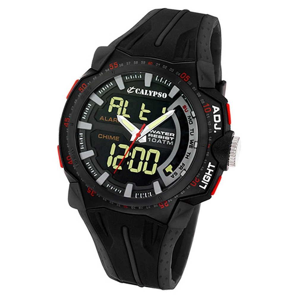 CALYPSO Herren-Armbanduhr Sport Chronograph Quarz-Uhr PU schwarz UK5539/2