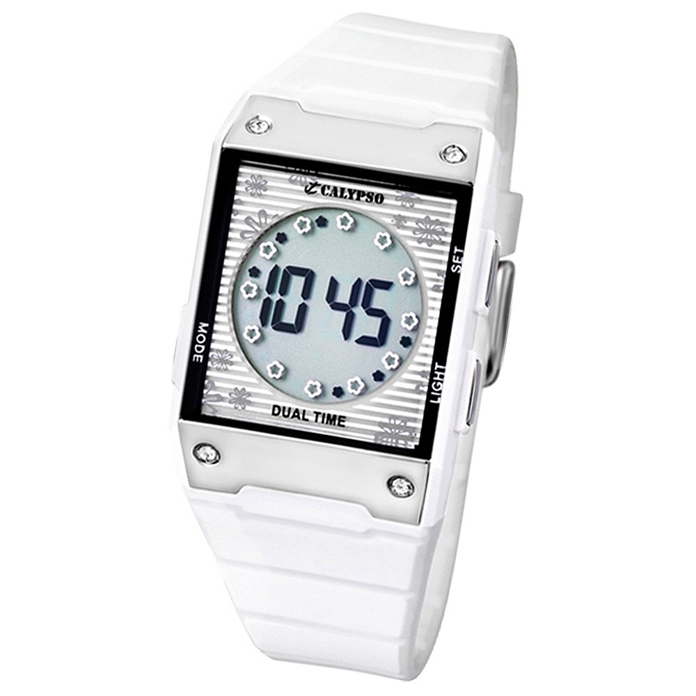 Calypso Damenuhr Armband weiß Digital Dual Time Uhren Kollektion UK5546/1