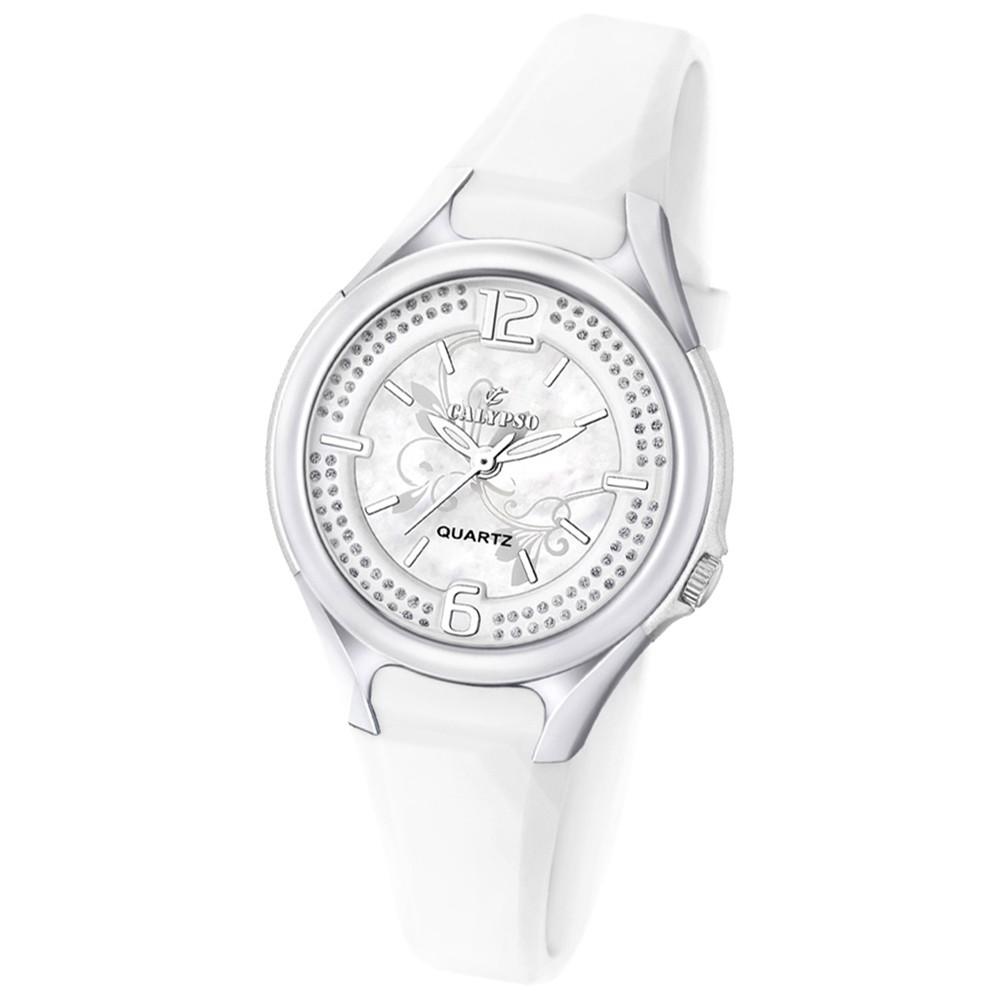 CALYPSO Damen-Armbanduhr Fashion analog Quarz-Uhr PU weiß UK5575/1