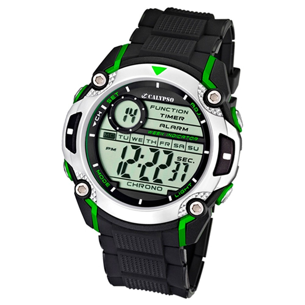Calypso Herrenchrono schwarz-grün Digital Uhren Kollektion UK5577/3