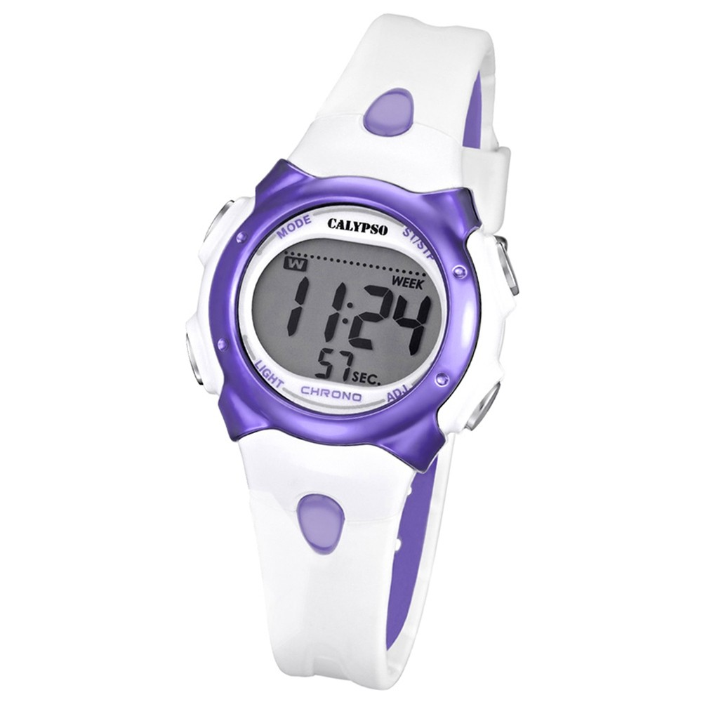 CALYPSO Damen-Armbanduhr Fashion Chronograph Quarz-Uhr PU weiß lila UK5609/2