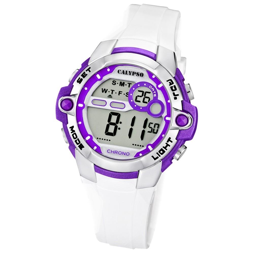 CALYPSO Damen Herren-Armbanduhr Sport Chronograph Quarz-Uhr PU weiß UK5617/3