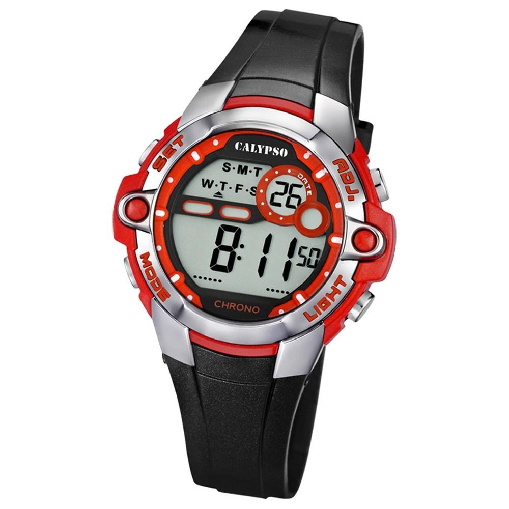 CALYPSO Damen Herren-Armbanduhr Sport Chronograph Quarz-Uhr PU schwarz UK5617/5