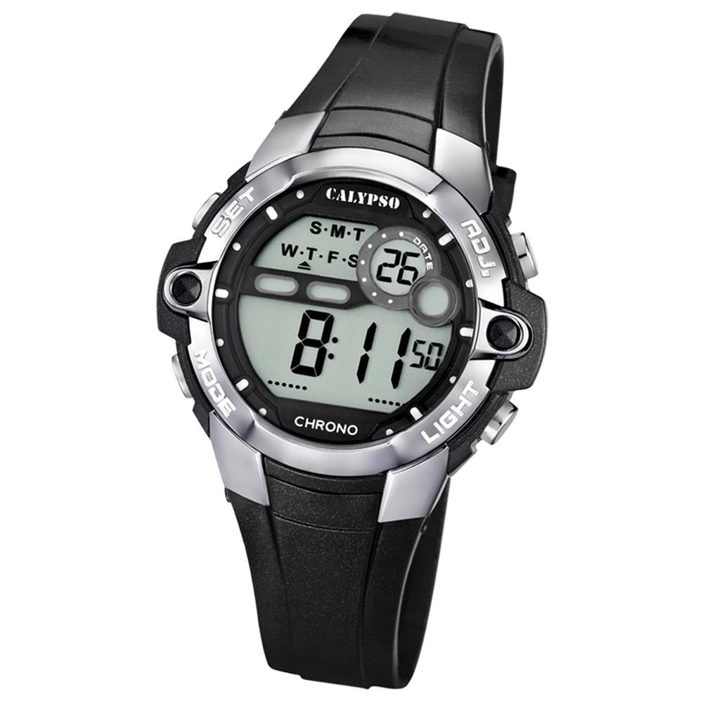 CALYPSO Damen Herren-Armbanduhr Sport Chronograph Quarz-Uhr PU schwarz UK5617/6