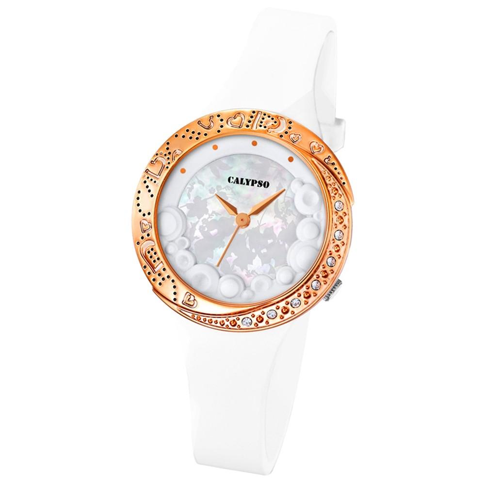 CALYPSO Damen-Armbanduhr Fashion analog Quarz-Uhr PU weiß UK5641/3