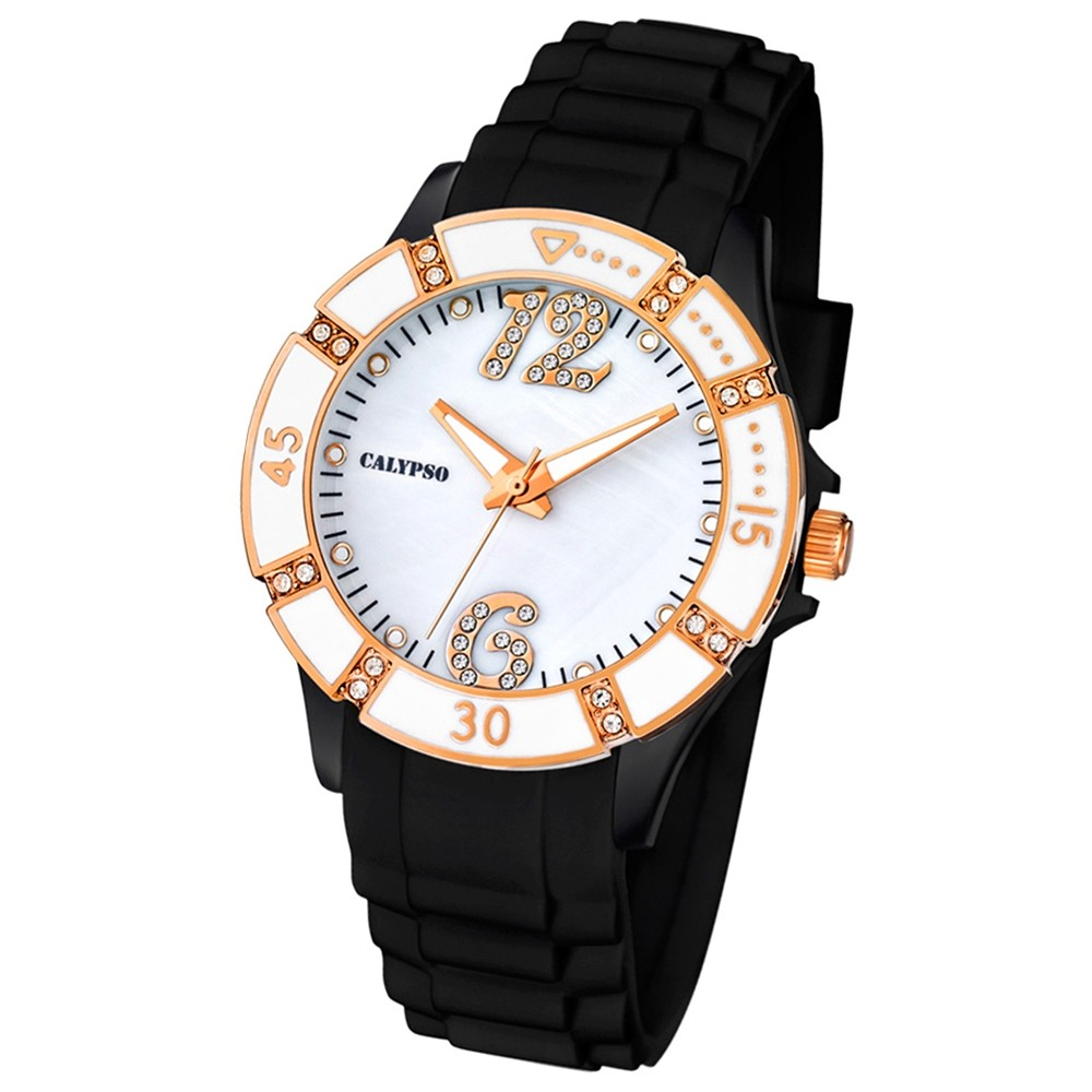 CALYPSO Damen-Armbanduhr Fashion analog Quarz-Uhr PU schwarz UK5650/6