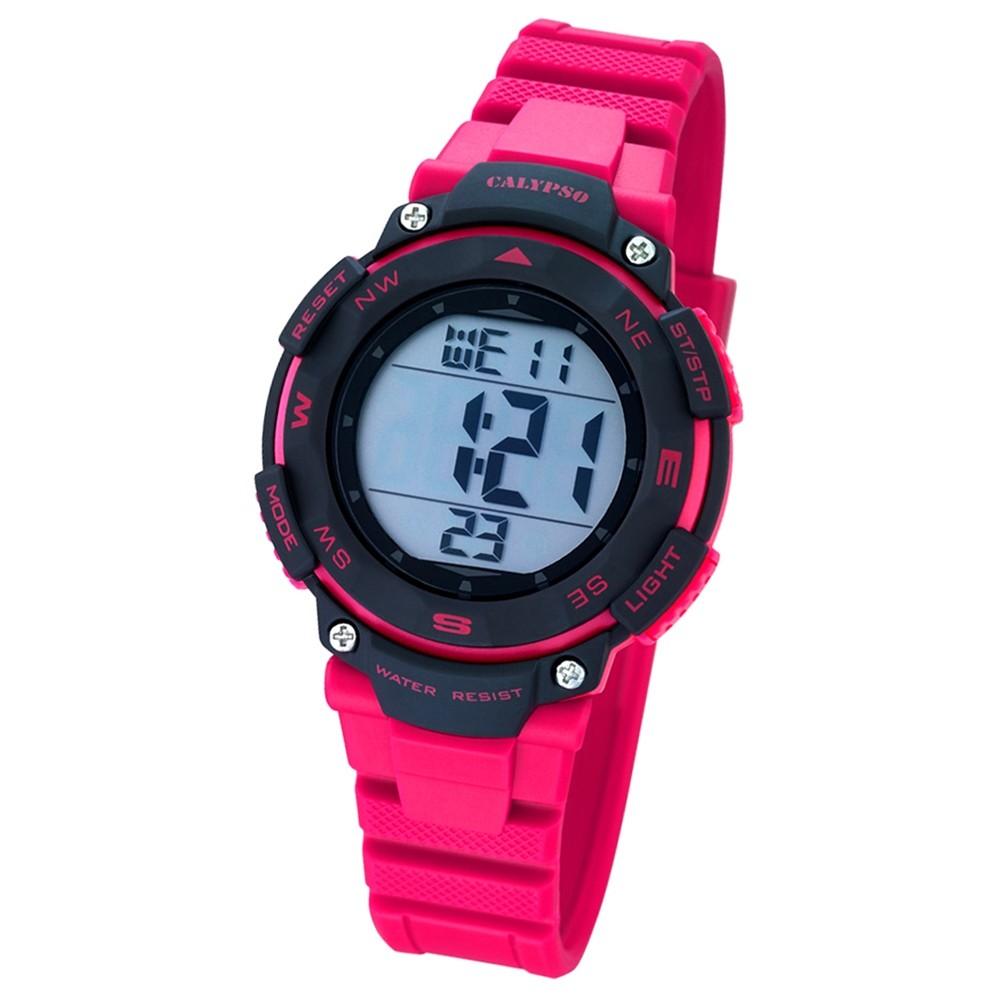 CALYPSO Damen-Armbanduhr Sport Chronograph Quarz-Uhr PU pink UK5669/2