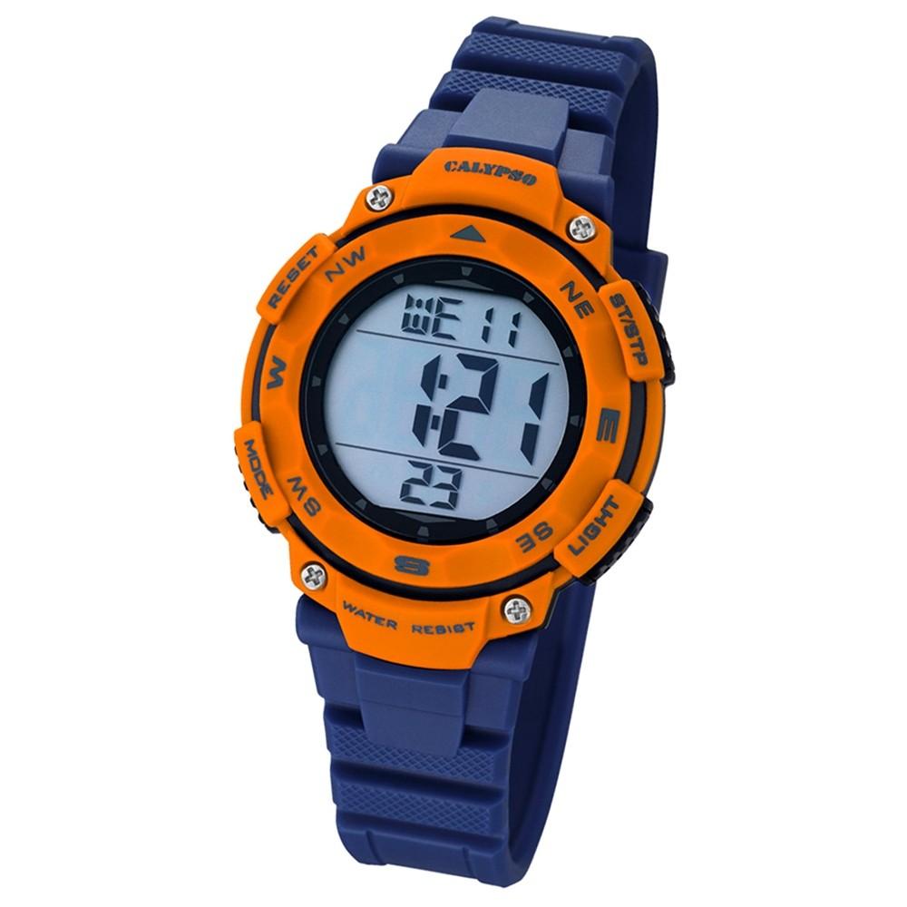 CALYPSO Damen-Armbanduhr Sport Chronograph Quarz-Uhr PU blau UK5669/4