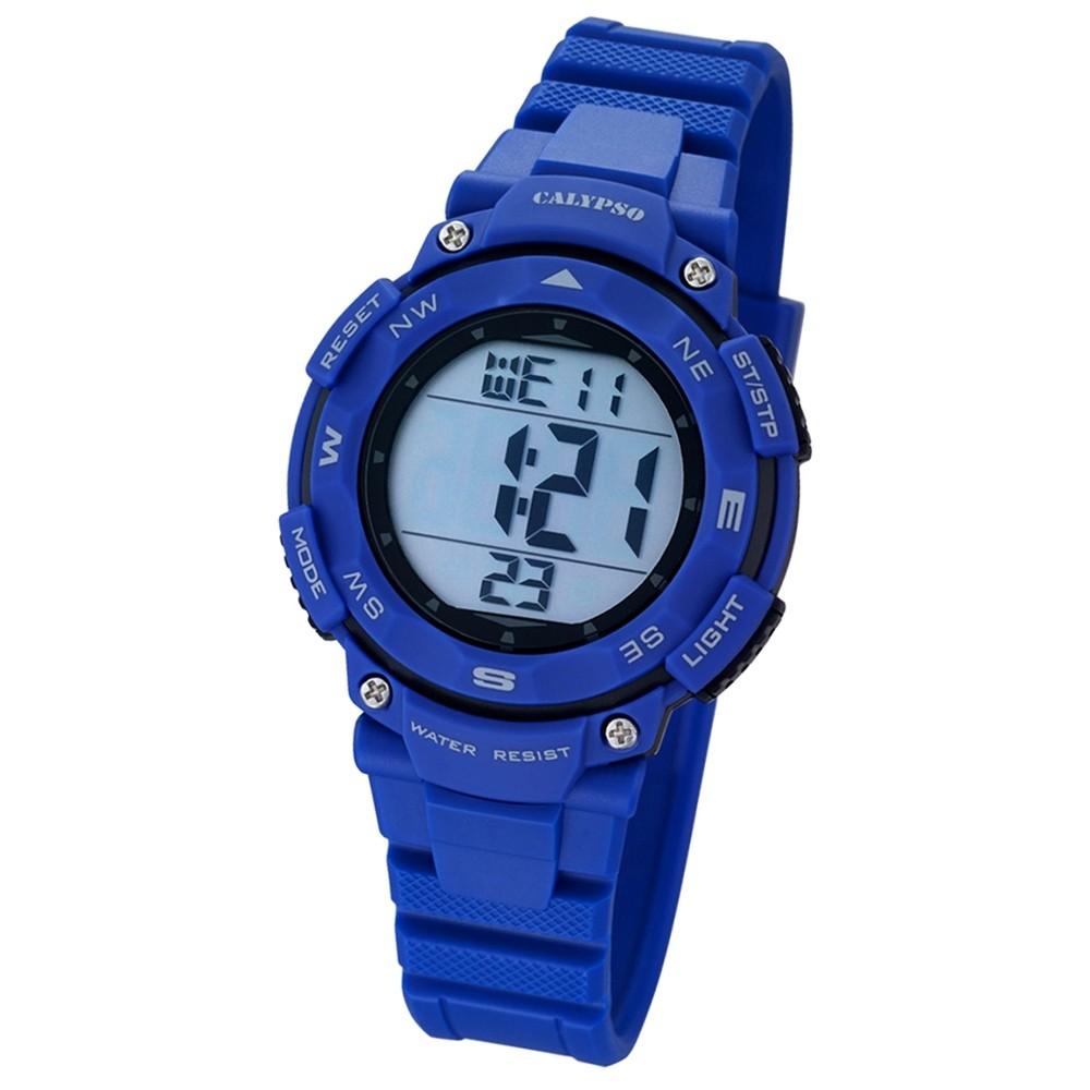 CALYPSO Damen-Armbanduhr Sport Chronograph Quarz-Uhr PU blau UK5669/6