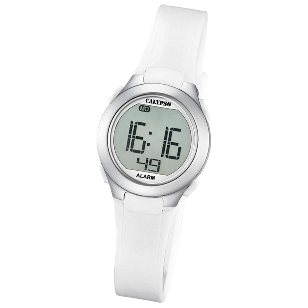 Calypso Damen-Armbanduhr Dame/Boy digital Quarz PU weiß UK5677/1