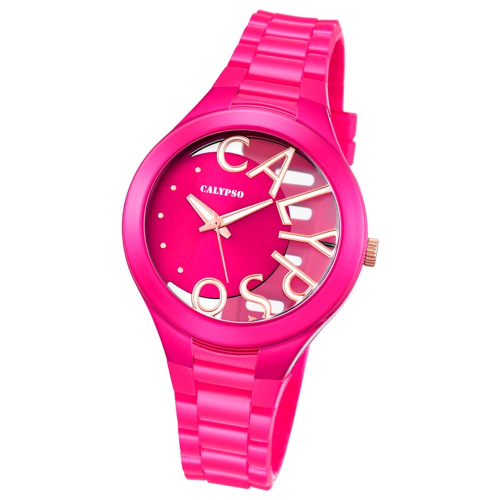 Calypso Damen-Armbanduhr Trendy analog Quarz PU pink UK5678/5