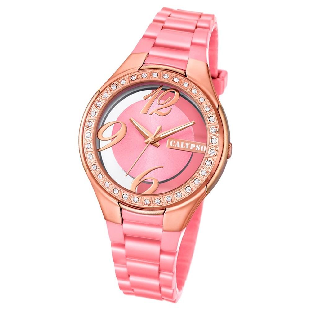 Calypso Damen-Armbanduhr Trendy analog Quarz PU rosa UK5679/8