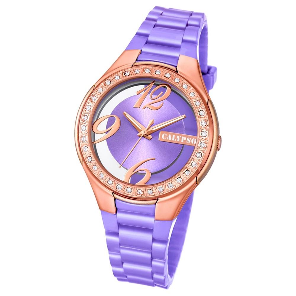 Calypso Damen-Armbanduhr Trendy analog Quarz PU lila UK5679/9