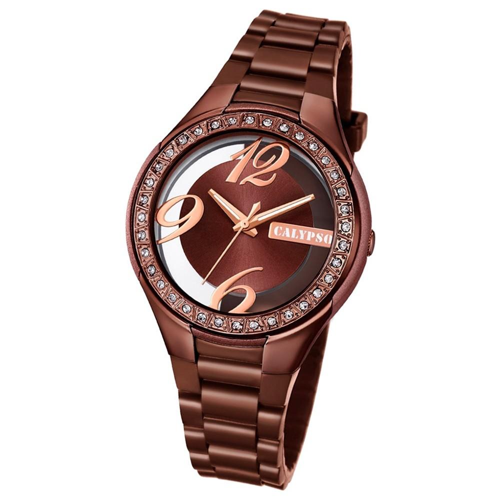 Calypso Damen-Armbanduhr Trendy analog Quarz PU braun UK5679/A
