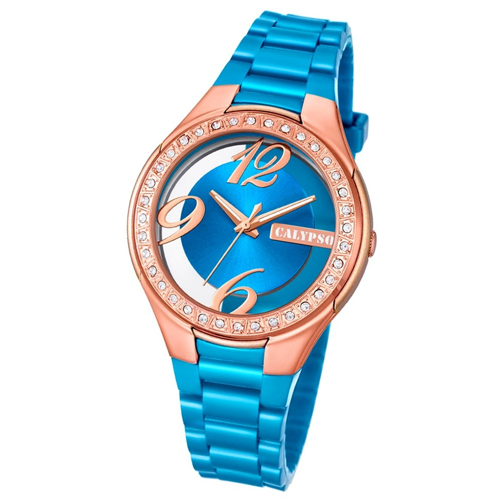 Calypso Damen-Armbanduhr Trendy analog Quarz PU hellblau UK5679/B