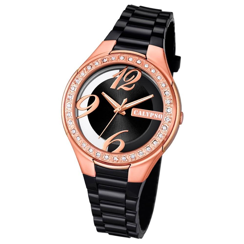 Calypso Damen-Armbanduhr Trendy analog Quarz PU schwarz UK5679/C