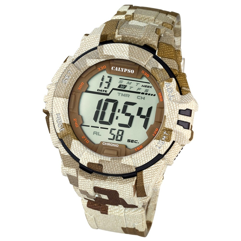 CALYPSO Herren-Armbanduhr Sport Chronograph Quarz-Uhr camouflage braun UK5681/2