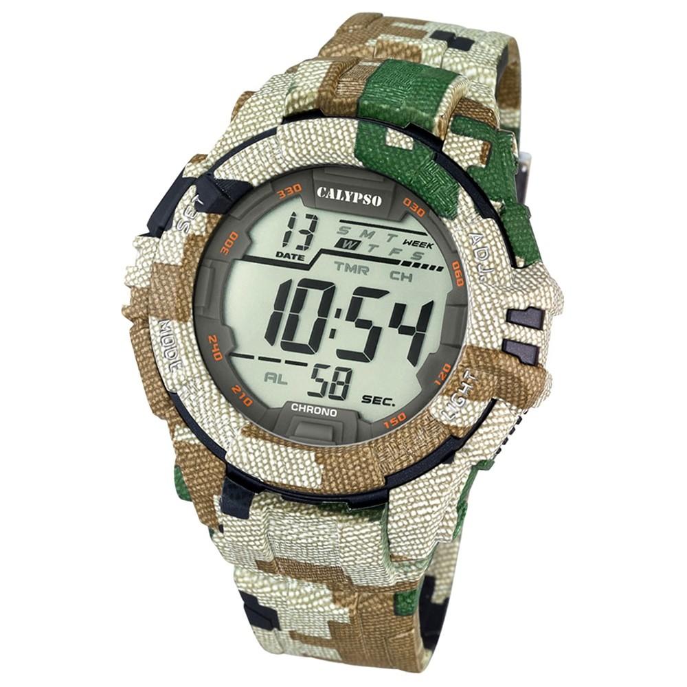 CALYPSO Herren-Armbanduhr Sport Chronograph Quarz-Uhr camouflage grün UK5681/3