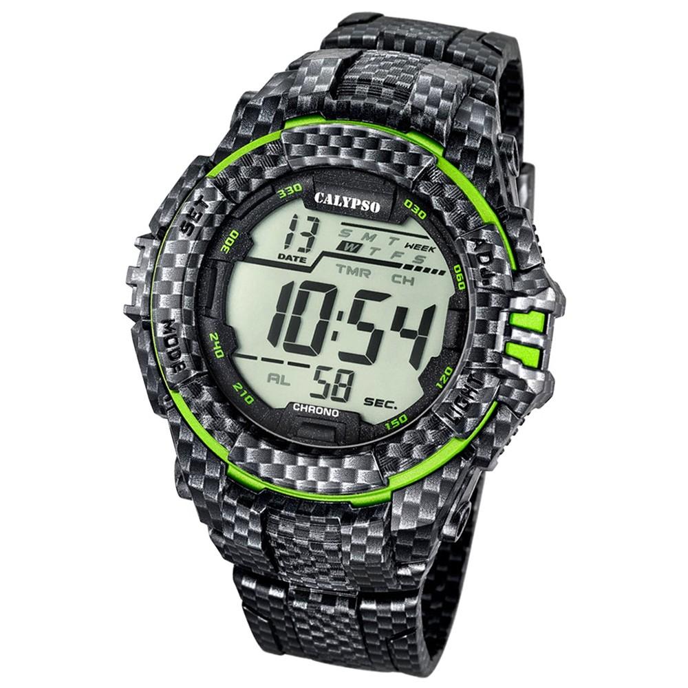 CALYPSO Herren-Armbanduhr Sport Chronograph Quarz-Uhr PU carbon grün UK5681/6