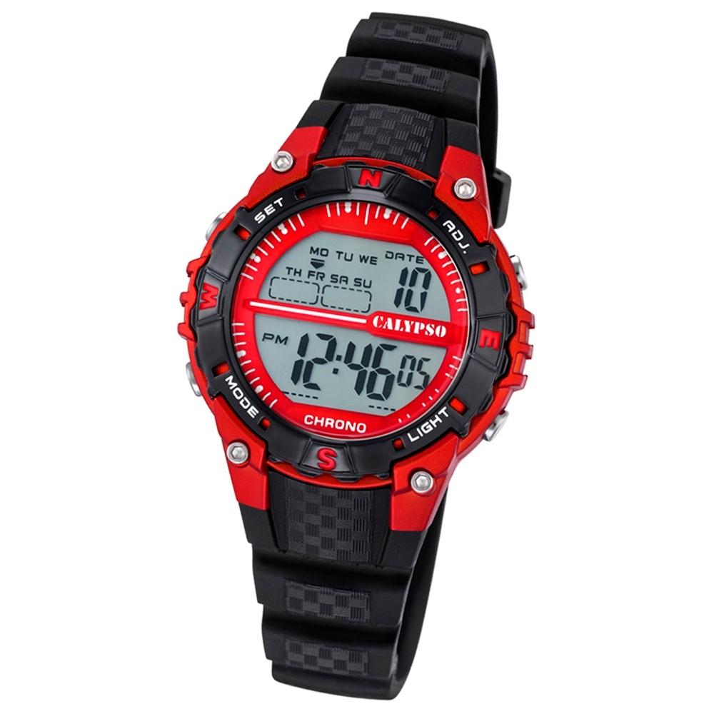 Calypso Damen Herren-Armbanduhr Dame/Boy digital Quarz PU schwarz UK5684/6