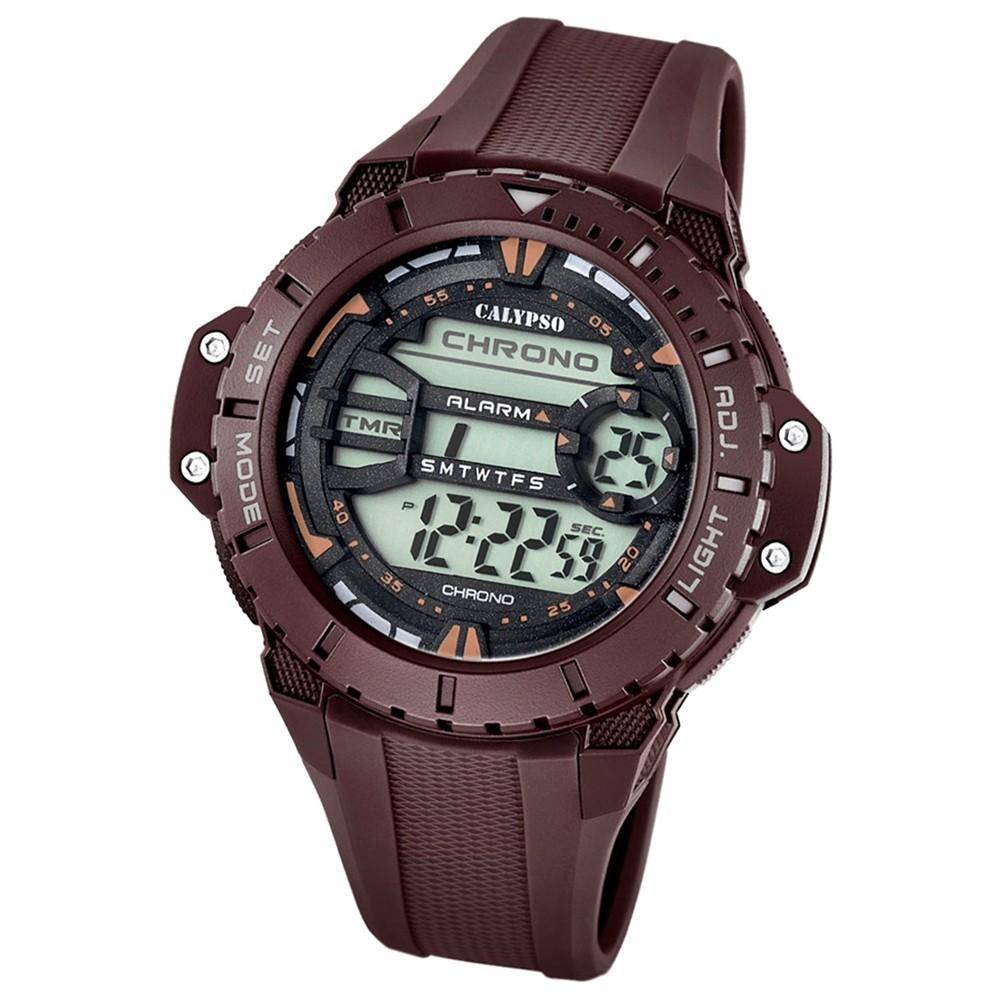 CALYPSO Herren-Armbanduhr Sport Chronograph Quarz-Uhr PU braun UK5689/3
