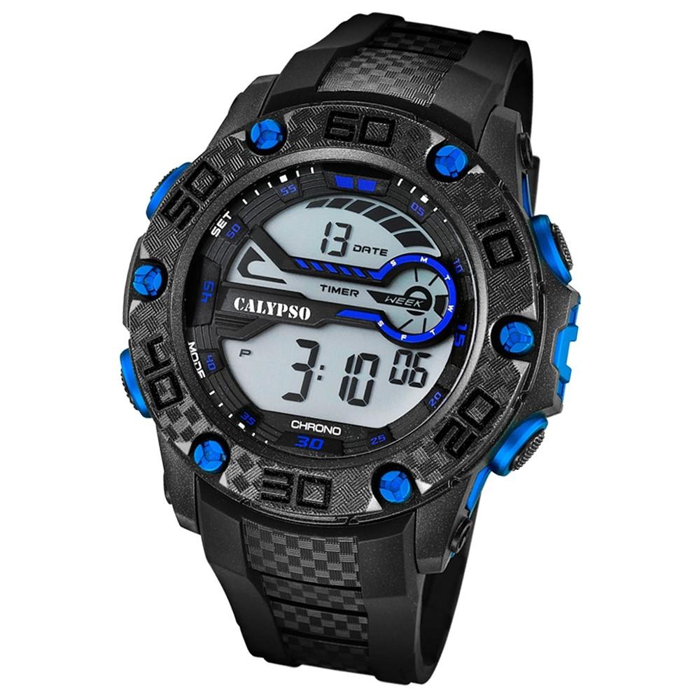 CALYPSO Herren-Armbanduhr Sport Chronograph Quarz-Uhr PU schwarz UK5691/7