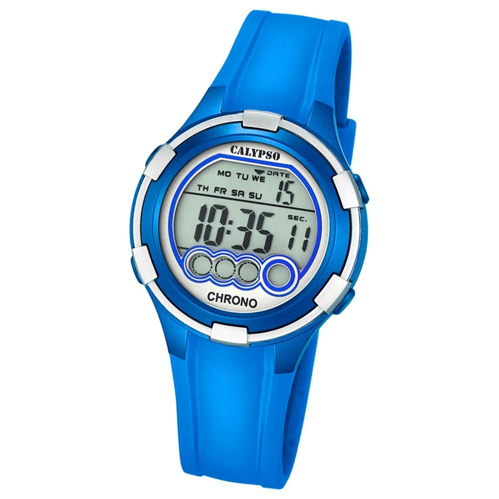 CALYPSO Damen-Armbanduhr Sport Chronograph Quarz-Uhr PU blau UK5692/4